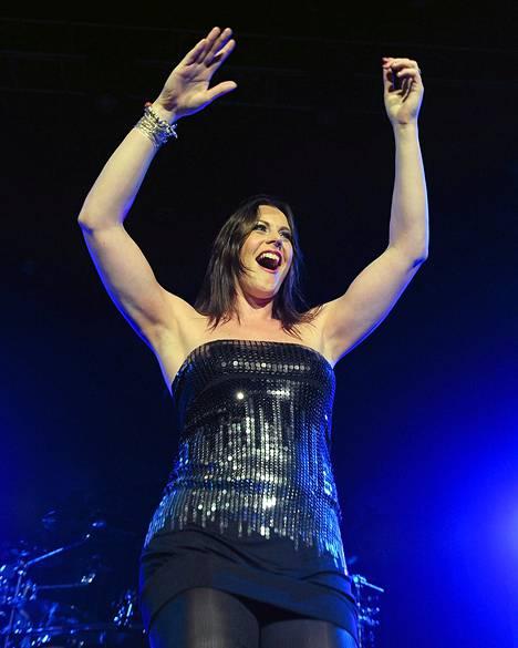 Nightwish-yhtyeen palkkaama laulaja Floor Jansen yhtyeen Anaheimin-keikalla.