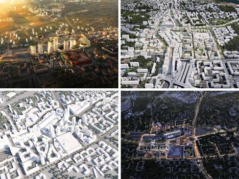 Ilmakuvat kilpailutöistä. Ylhäällä vasemmalla Helsinki East Village, ylhäällä oikealla Jalan jaloin. Alhaalla vasemmalla Itis siti, alhaalla oikealla Itä-Helsingin glokaali keskusta.