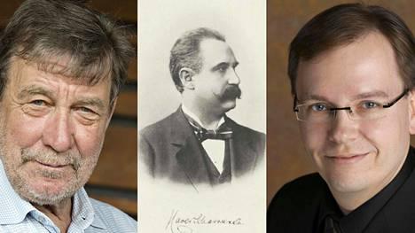 Kapellimestari Okko Kamu, säveltäjä Xaver Scharwenka ja pianisti Risto-Matti Marin.