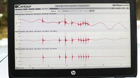 Seismologi Tommi Vuorinen tarkistaa Helsingin Seurasaaressa olevalla maanjäristysten mittauspisteellä, että maan liikkeitä taltioiva anturi toimii oikein.