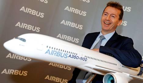 Airbusin toimitusjohtaja Guillaume Faury yhtiön tulosjulkistustilaisuudessa helmikuussa 2020.