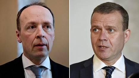 Perussuomalaisten puheenjohtaja Jussi Halla-aho ja kokoomuksen puheenjohtaja Petteri Orpo