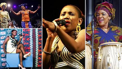 Amazones d'Afrique -yhtyeessä esiintyvät Mariam Doumbia (vas. ylhäällä), Kandia Kouyaté ja Mamani Keïta (vas. alhaalla), Mariam Koné, Rokia Koné ja Mamani Keïta.