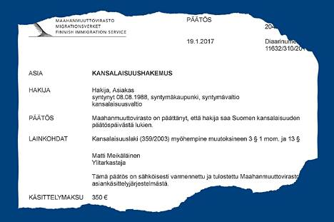 Päätös Suomen kansalaisuuden myöntämisestä on ytimekäs.