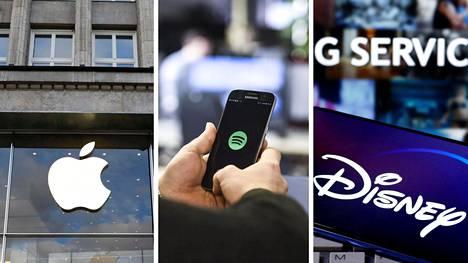 Apple ja Disney ovat menestyneet myös koronavirusaikana hyvin. Sen sijaan Spotifyn (kesk.) käyttömäärät romahtivat huhtikuussa työmatkojen vähenemisen vuoksi.