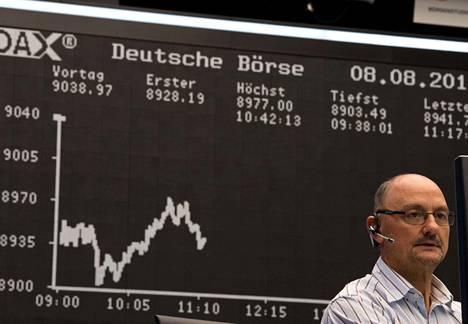 Meklari seurasi huolestuneena pörssikurssien kehitystä työpäätteensä äärellä Frankfurtin pörssissä Saksassa perjantaina.