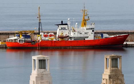 Aquarius-alus kuvattuna Marseillen satamassa Ranskassa 6. lokakuuta.