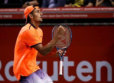 Australian Nick Kyrgios voitti reilu viikko sitten ATP-turnauksen Tokiossa.