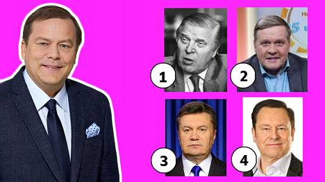 Ehdokkaat ei-Jari-Porttilan-näköiseksi mieheksi: (1) Johannes Virolainen, poliitikko. (2) Lauri Karhuvaara, toimittaja. (3) Viktor Janukovyts, poliitikko. (4) Tapani Kansa, muusikko.