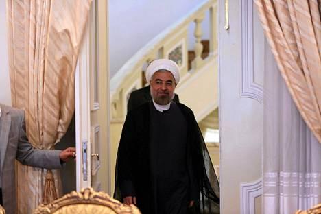 Iranin presidentti Hassan Rouhani sai tiistaina historiallisen puhelun Britanniasta. Kuva on otettu lokakuussa Teheranissa.