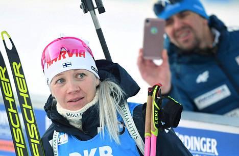 Kaisa Mäkäräinen kertoi uran lopettamisesta viime lauantaina ja kilpaili viimeisen kerran maailmancupissa kotiladuilla Kontiolahdella.