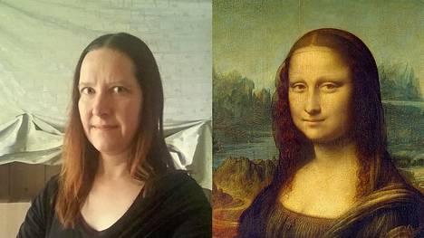 Da Vincin klassikkoteos Mona Lisa inspiroi monia karanteenitaide-haasteeseen osallistuneita, myös Katja Hynnistä.