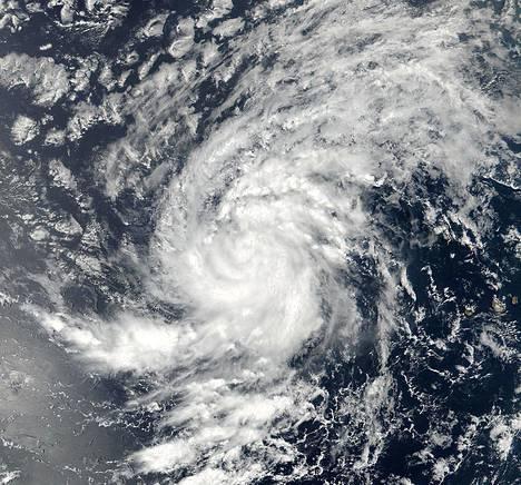 Hurrikaani Irma itäisellä Atlantilla keskiviikkona otetussa satelliittikuvassa.