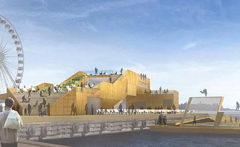 Arkkitehtitoimisto on tehnyt havainnekuvan Katajanokalle kaavaillusta kylpylä- ja virkistysalueesta.