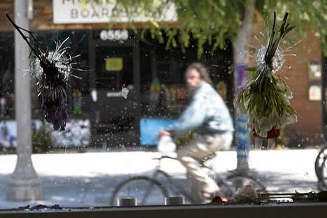 Mies pyöräili ohi ravintolan näyteikkunasta, johon ammuttuja luodinreikiä koristivat ruusukimput Kalifornian Isla Vistassa sunnuntaina.