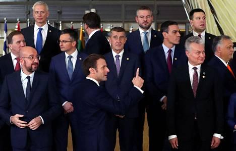 EU-johtajat tapasivat torstaina Brysselissä. Etualalla Ranskan presidentti Emmanuel Macron.