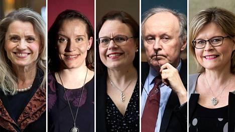 Lääkärikansanedustajat Päivi Räsänen (kd), Mirka Soinikoski (vihr), Mia Laiho (kok), Aki Lindén (sd) ja Sari Tanus (kd).