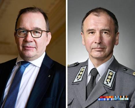 Supon päälliköstä Antti Pelttarista (vas.) tulee yksi Suomen suurimmista vallankäyttäjistä. Toinen suuri vallankäyttäjä on uusi sotilastiedustelun päällikkö Pekka Toveri.