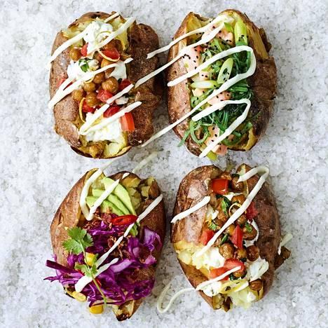 Edullista, helppoa ja herkullista. Kun täytteet valitsee ruokavalion mukaan, uuniperunat sopivat lähes kaikille.