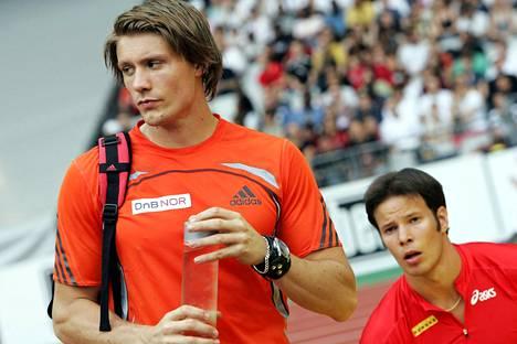 Tero Pitkämäki ja Andreas Thorkildsen tuntevat toisensa pitkältä ajalta. Vuonna 2007 kaksikko osallistui Pariisin Kultaisen liigan kilpailuun.