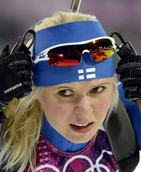 Ampumahiihtäjänä tunnettu Mari Laukkanen kisaa hiihdon sprintissä. TV2 klo 12.