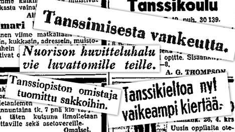 Tanssikiellosta kertovia otsikoita Helsingin Sanomissa vuonna 1943.