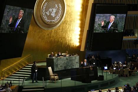 Presidentti Donald Trump puhui tiistaina uhkamakkaasti YK:n yleiskokouksessa New Yorkissa.
