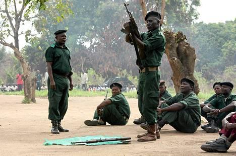 Mosambikin kansallisen vastarintaliikeen Renamon jäsenet osallistuivat aseellisiin harjoituksiin Gorongosan vuorilla Mosambikissa marraskuussa 2012.