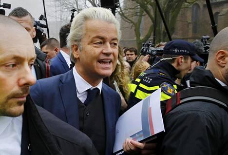 Hollannin oikeistopopulistisen vapauspuolueen johtaja Geert Wilders kampanjoi Rotterdamissa viime viikolla.