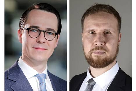 Rkp:n puheenjohtaja Carl Haglund ja vihreiden varapuheenjohtaja Touko Aalto.
