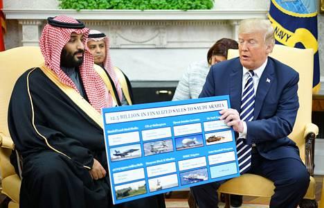 Donald Trump ja Saudi-Arabian kruununprinssi Mohammed bin Salman keskustelivat asekaupoista Washingtonissa maaliskuussa 2018.
