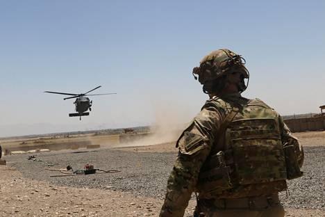 Yhdysvaltain sotilas Kaakkois-Afganistanissa vuonna 2019 toteutetun sotaoperaation aikana.