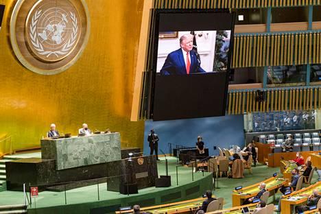 Presidentti Donald Trumpin nauhoitettua puhetta seurattiin YK:n päämajassa New Yorkissa tiistaina.