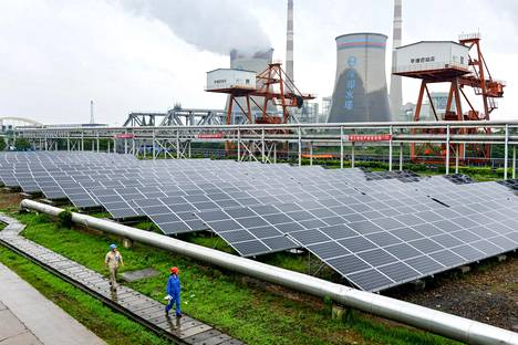 Kiinan Changxingissa asennettiin aurinkopaneeleja kesäkuussa.