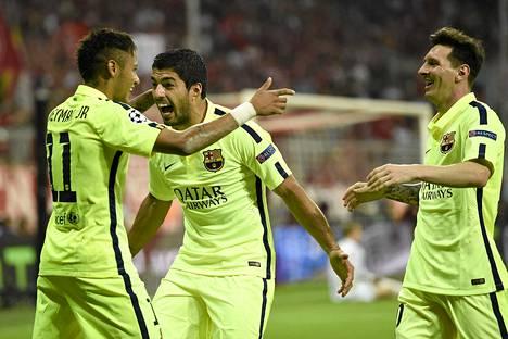 Neymar, Luis Suárez ja Lionel Messi muodostavat tämän hetken kenties tehokkaimman hyökkäystrion.
