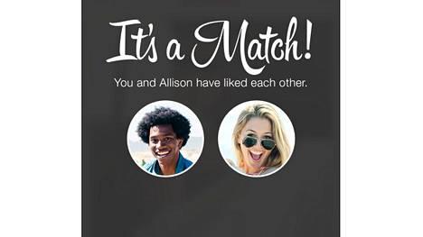 Tinder perustuu matcheihin eli pareihin, jotka muodostuvat, kun käyttäjät ovat tykänneet toistensa kuvista. Kuva on Tinderin yleistä lehdistömateriaalia.