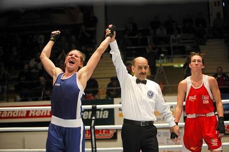 Mira Potkonen voitti naisten 60-kiloisissa Saksan Mikaela Mayerin.