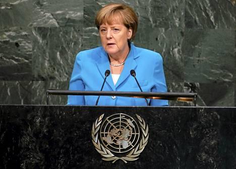 Saksan liittokansleri Angela Merkel puhui YK:n päämajassa New Yorkissa perjantaina.