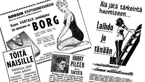 Vanhoissa mainoksissa laihuuden tärkeydestä ja palkkaeroista puhuttiin suoraan.