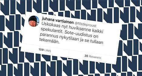 Kansanedustaja Juhana Vartiainen (kok) twiittasi sote-uudistuksesta.