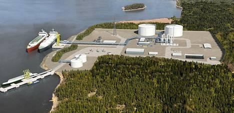 Havainnekuva Inkooseen suunniteltavasta LNG-terminaalista, jonka Suomi on esittänyt EU:n investointiohjelman listalle.