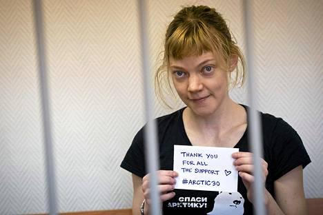 Sini Saarela oikeudessa Murmanskissa lokakuussa.