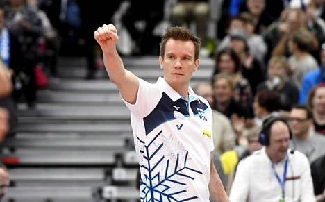 Tuomas Sammelvuo luotsasi Suomen maajoukkuetta 6. tammikuuta 2019 Tanska-ottelussa.