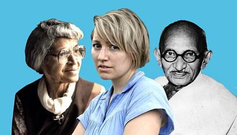 Rosa Parks (vas.), Aino Pennanen ja Mahatma Gandhi.