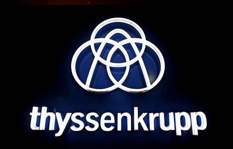 Thyssenkruppin logo yhtiön toimipisteessä Rottweilissa, Saksassa 21. tammikuuta 2020.