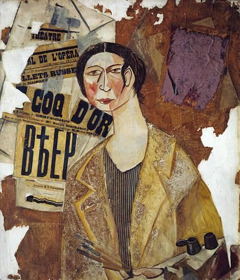 Mikhail Larionov: Natalia Gontšarovan muotokuva (1915). Larinov oli taiteilijan puoliso. He kehittivät yhdessä rayonismiksi kutsutun suuntauksen.