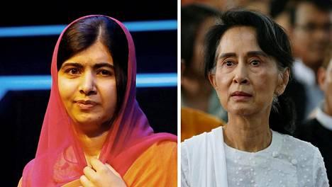 Malala Yousafzai (vas.) ja Aung San Suu Kyi