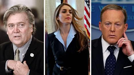 Valkoisesta talosta ovat lähteneet muun muassa päästrategi Steve Bannon (vas.), yksi Trumpin läheisimmistä avustajista Hope Hicks sekä lehdistöpäällikkö Sean Spicer.