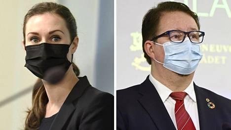Pääministeri Sanna Marin ja Terveyden ja hyvinvoinnin laitoksen (THL) johtaja Mika Salminen.