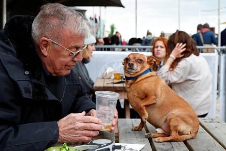 Terassiasiakas nautti oluesta ja koira lokoili pöydällä Brightonissa.